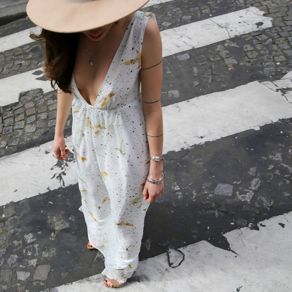 Printed Maxi Cowl Back Dress Ibiza - From Paris to by Floriane Fosso - Floriane Fosso