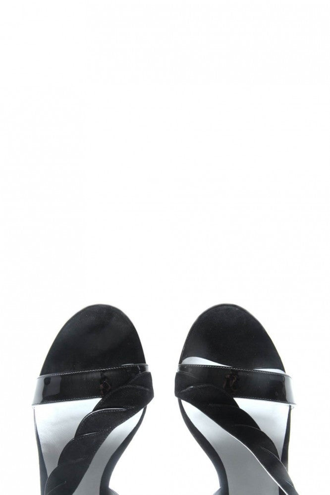 Women Velvet and Leather Black Sandals Fred Marzo - Fred Marzo