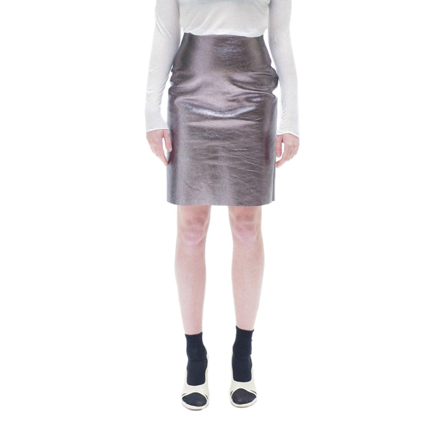 Straight Skirt in Pink Leather - THE WOOD