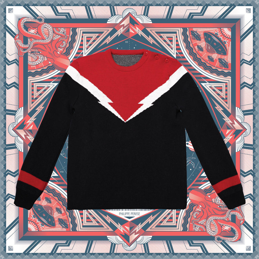 "Blue and Red Unisex Sweater ""Flash Bold"" by Philippe Perisse"