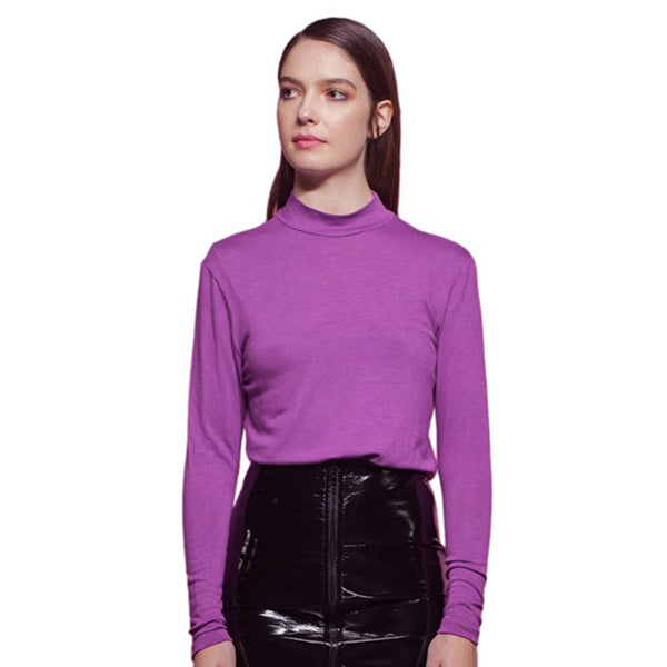 Purple Collar Top with Long Sleeves made In Paris