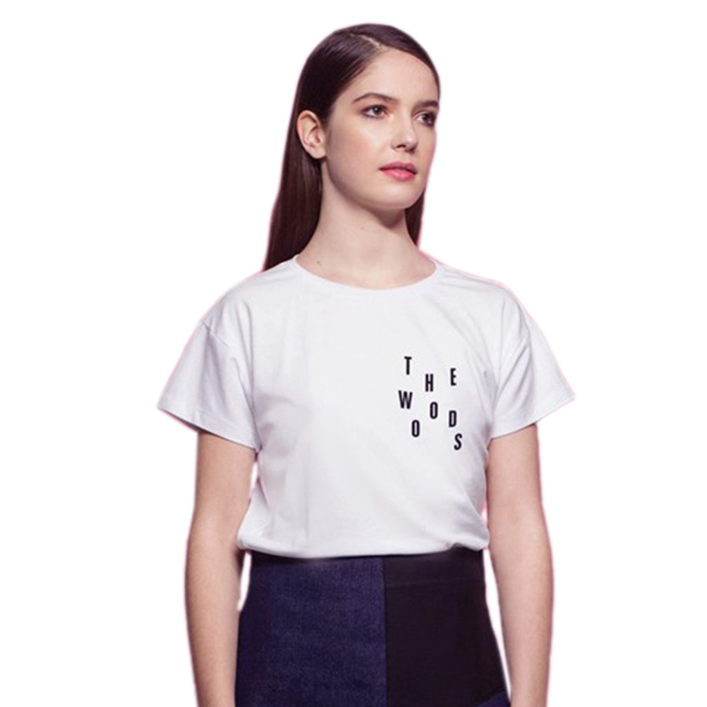 Women White T-shirt with Rain Letters The Woods Made In Paris