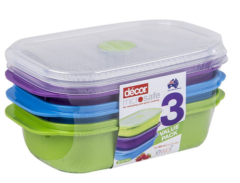 x3 Colourful Leak and Crack Proof, High Strength Meal Prep Food Containers