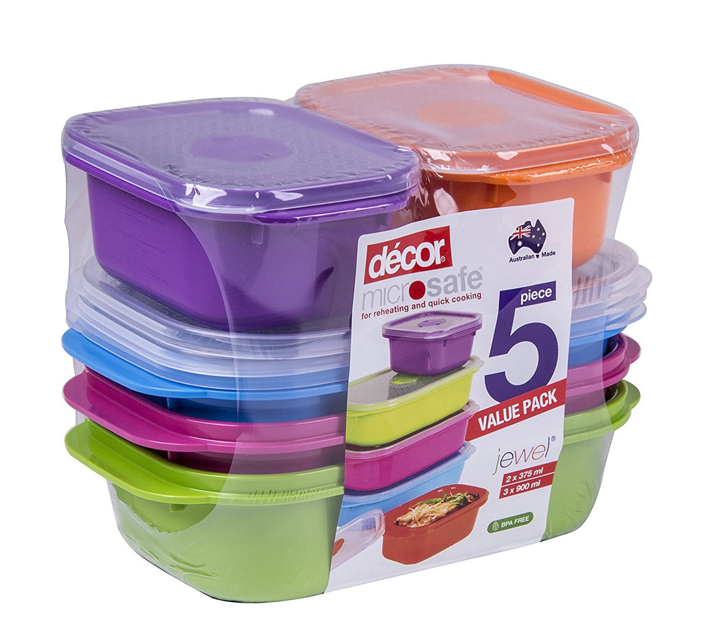 x5 Colourful Leak and Crack Proof, High Strength Meal Prep Food Containers