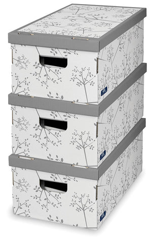 DomoPak 3pcs/set boxes Décor White Leaf