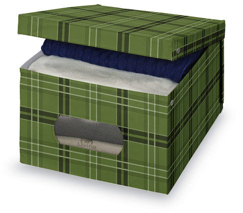 DomoPak Large Garment Box Green Tartan