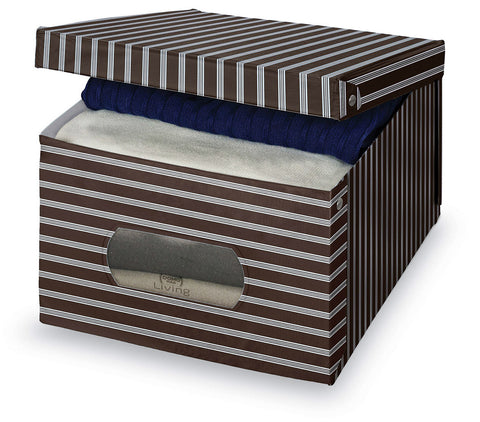 DomoPak Large Garment Box Brown Stripe