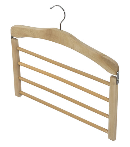 1pc Natural Wooden 4 Tier Trouser Bar Hanger