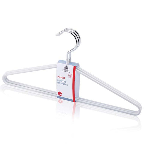 Set of 3 White Non Slip Hangers