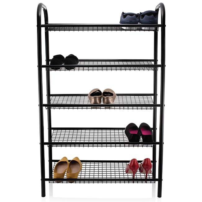5 Tier Black Metal Shoe Rack