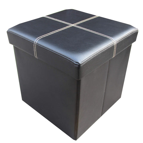 Storeasy Black Faux Leather Single Seat Ottoman