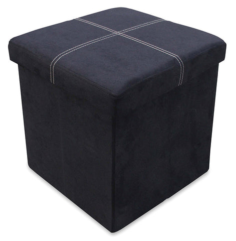 Storeasy Black Micro Suede Single Seat Ottoman