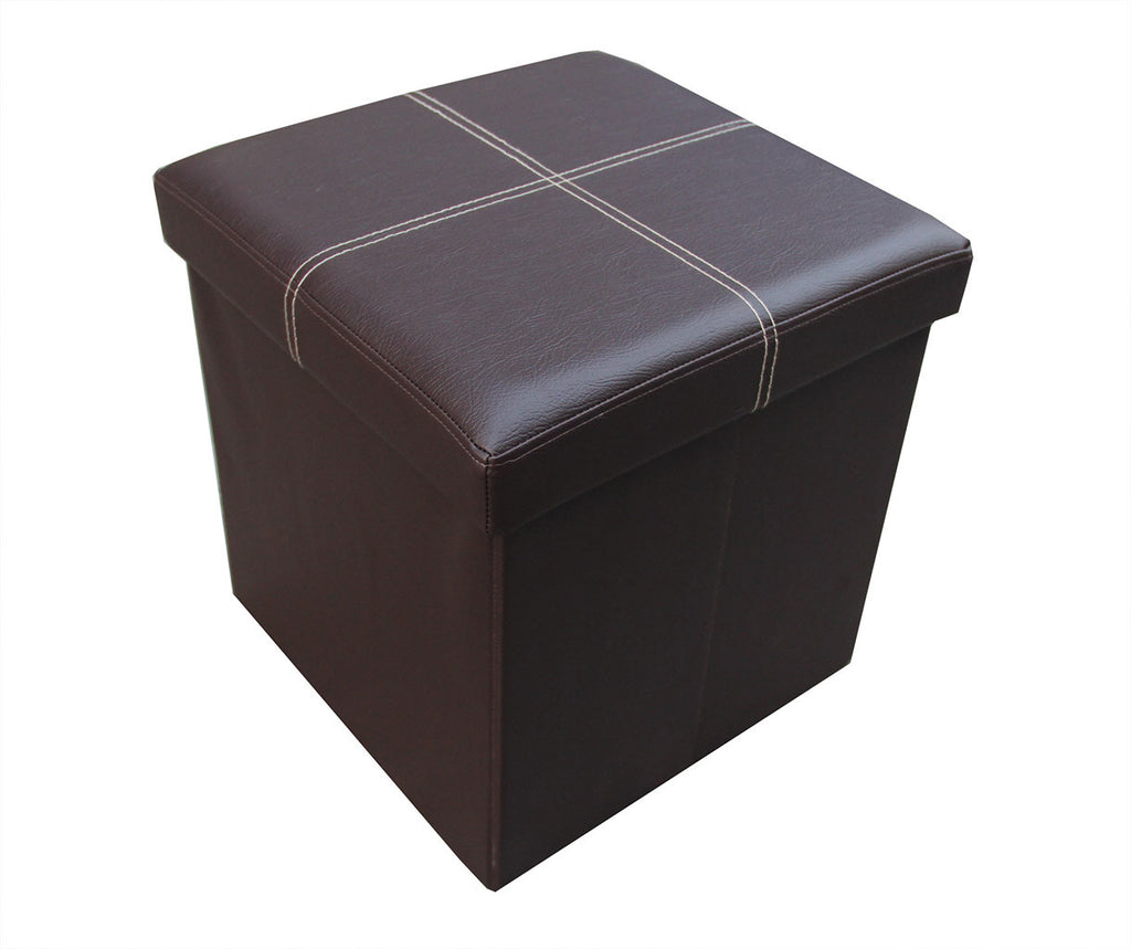Storeasy Brown Faux Leather Single Seat Ottoman