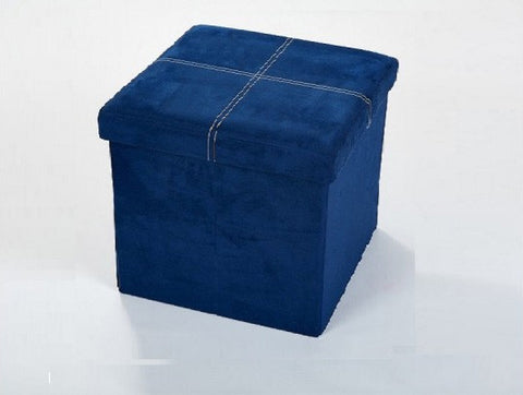 Storeasy Navy Blue Micro Suede Single Seat Ottoman