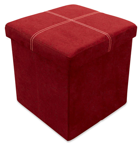 Storeasy Red Micro Suede Single Seat Ottoman