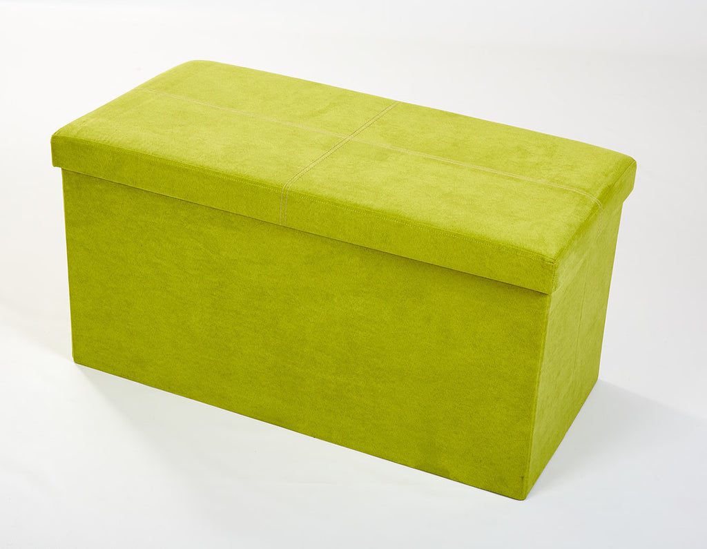 Storeasy Apple Green Micro Suede Double Seat Ottoman