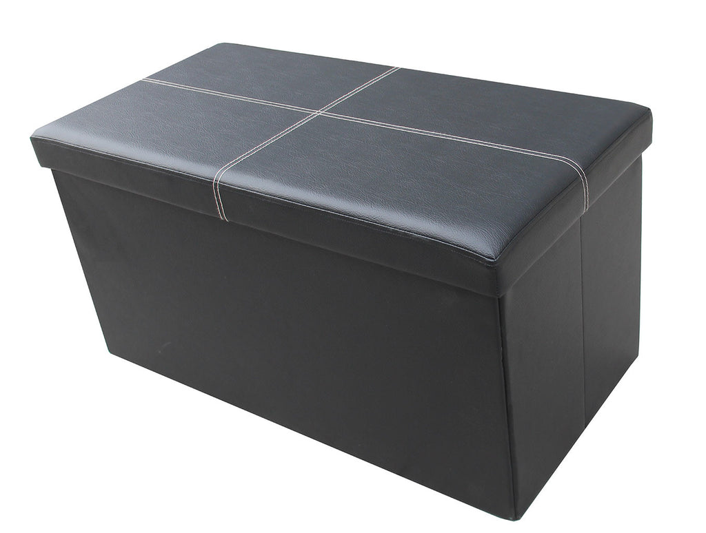 Storeasy Black Faux Leather Double Seat Ottoman
