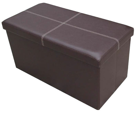 Storeasy Brown Faux Leather Double Seat Ottoman