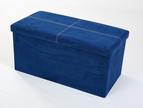 Storeasy Navy Blue Micro Suede Double Seat Ottoman