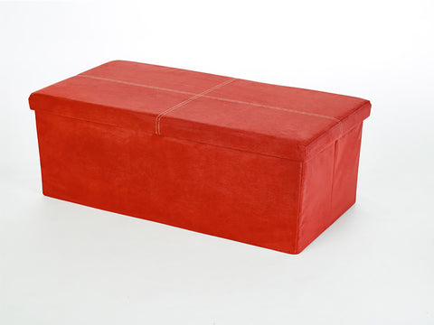Storeasy Red Micro Suede Double Seat Ottoman