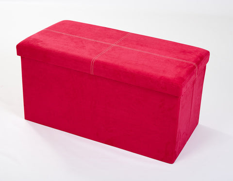 Storeasy Rose Pink Micro Suede Double Seat Ottoman