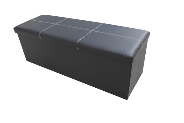 Storeasy Black Faux Leather Triple Seat Ottoman