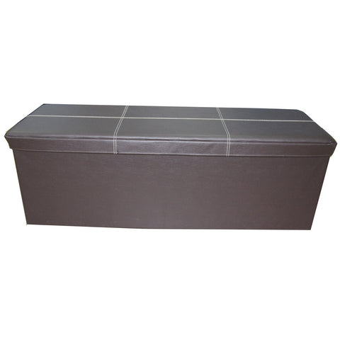 Storeasy Brown Faux Leather Triple Seat Ottoman