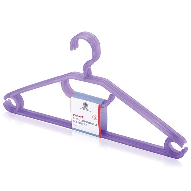 Set of 3 Lilac Translucent Hangers with Turnable Hook