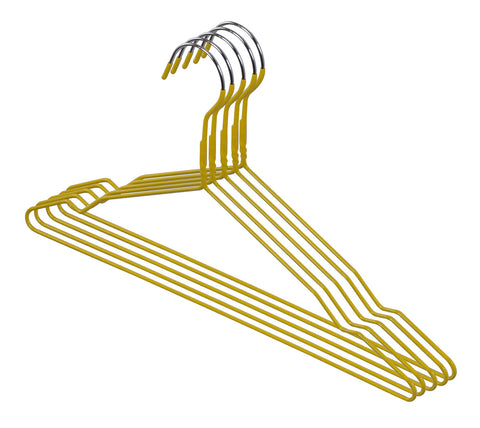 5pcs Yellow Vinyl Antislip Hangers
