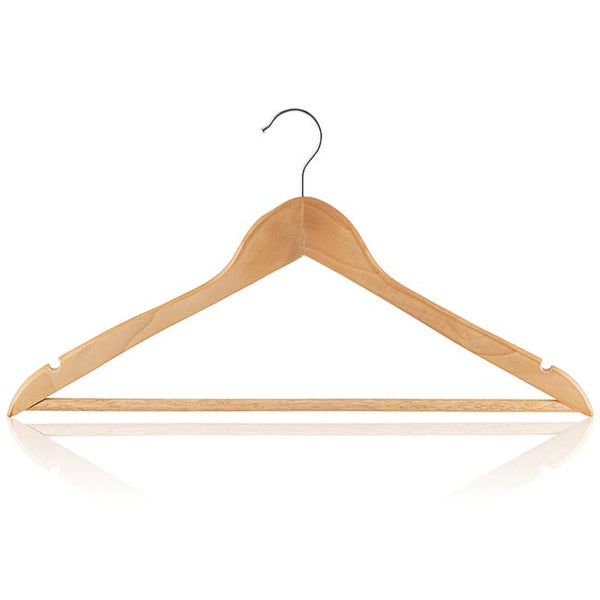 Eucalyptus Wood Hanger with Round Bar & Skirt Notches, Silver Hook, Flat Profile