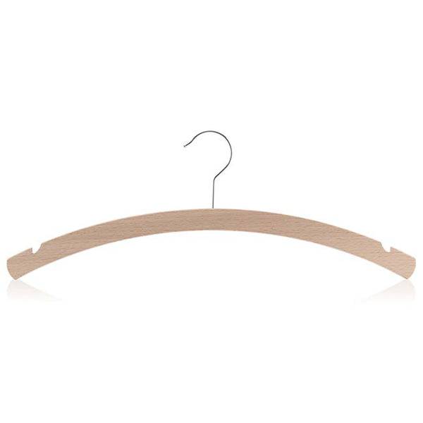Crescent Hanger in Waxed Beech Wood with Skirt Notches & Silver Hook