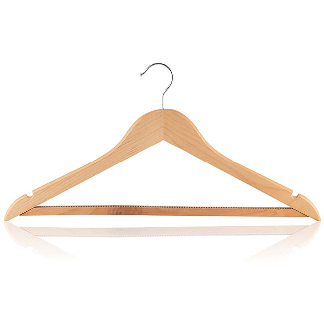 Beech Shaped Hanger with Non-Slip Bar, Skirt Notches & Silver Hook