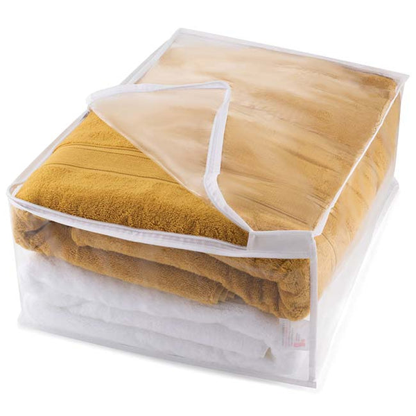 Blanket Storage Bag with Zip Fastening, Clear with White Trim