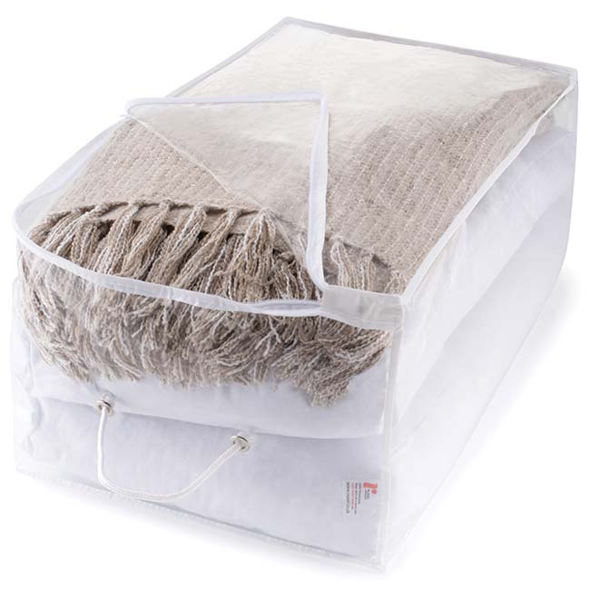 Storage Oblong Bag with Zip Fastening, Clear with White Trim
