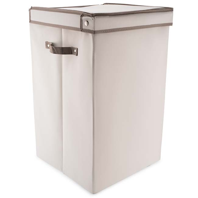 Folding Laundry Box with Lid in Oyster & Grey Trim