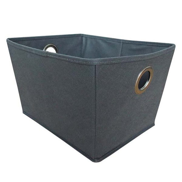 Grey non-woven Foldable Storage Box with Chrome Handle Large