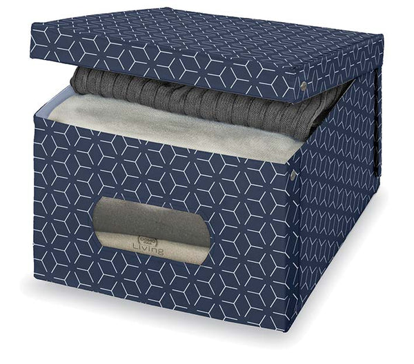 Blue Geometric Vinyl Cardboard Box - Large