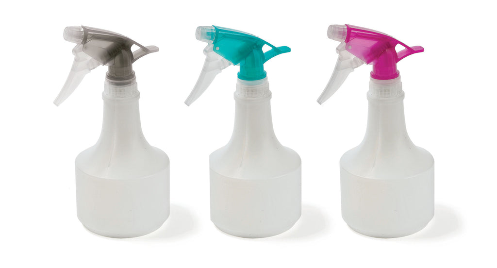 Spray bottle - purple - green - grey