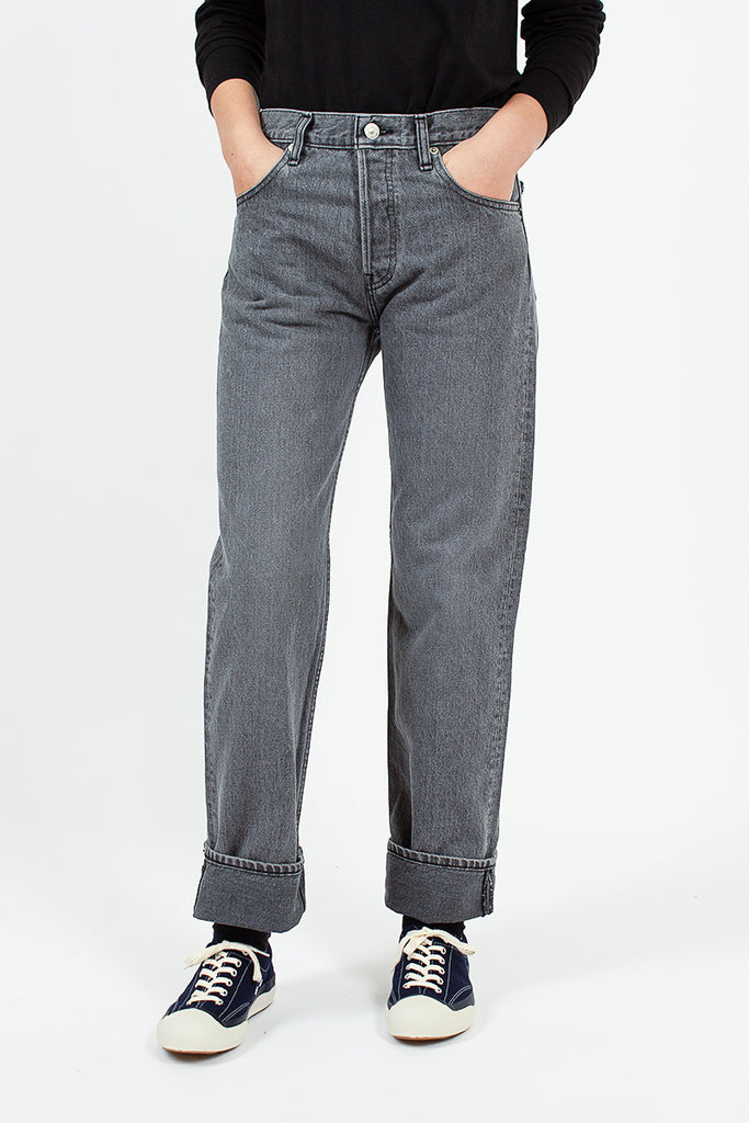 108 Black Stone Wash Straight Leg Jean