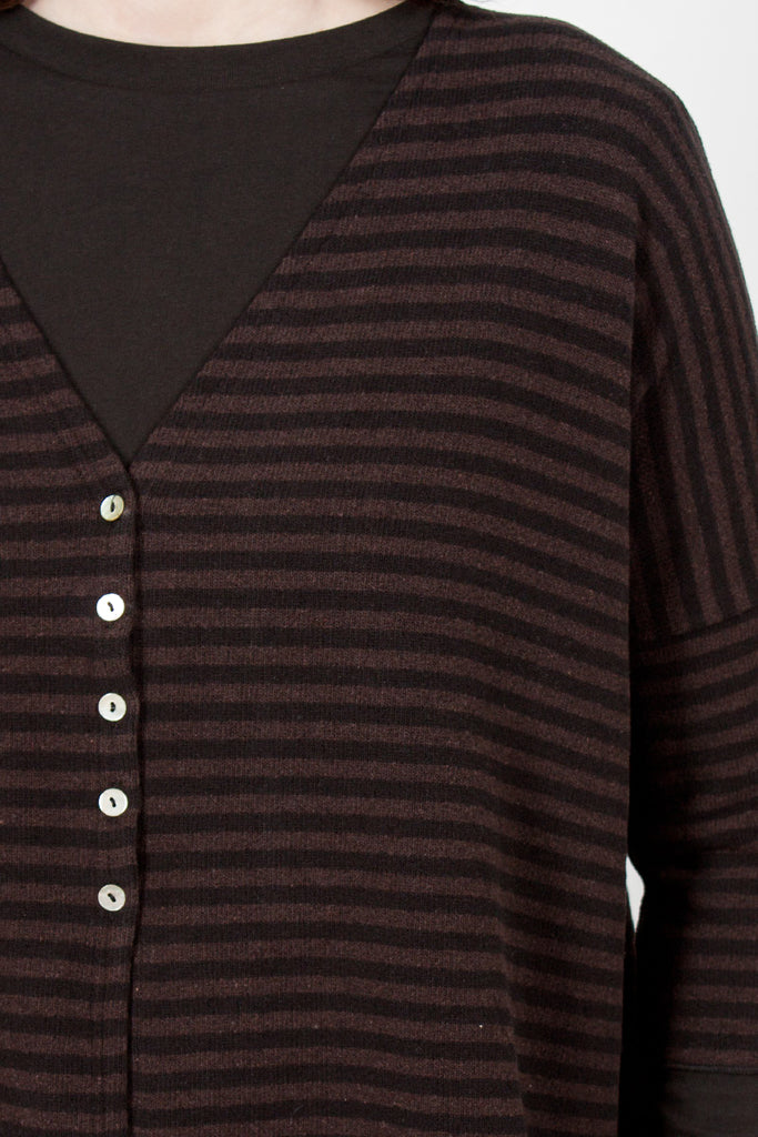 41_105 JP Striped Cardigan Black/Brown