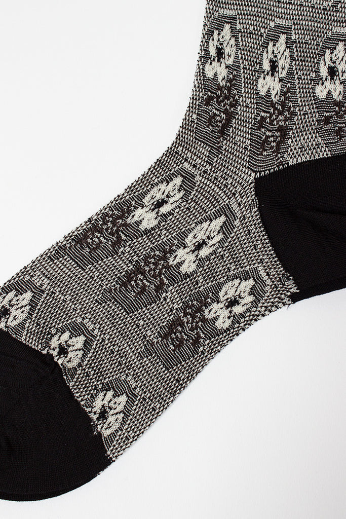 Blooms Black/Ivory High Sock