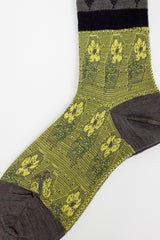 Blooms Grey/Yellow Sock