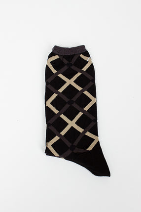 Cross Circle Black Sock