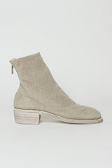 796 Cream Linen Back Zip Boot