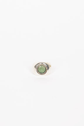 Amorini Sterling Silver Icy Diamond/Serpentine Ring