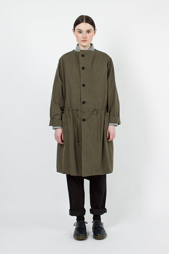 Collarless Army Green Coat