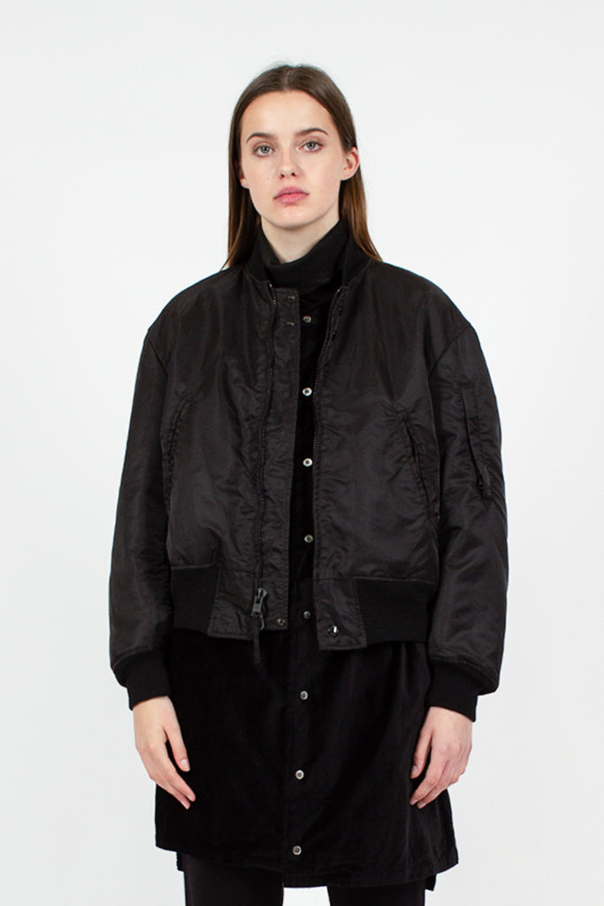 Black Nylon Aviator Jacket