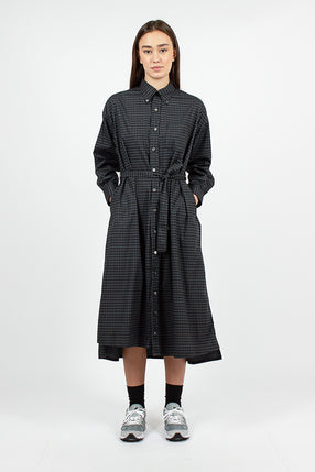 BD Shirt Dress Black/Grey Broadcloth Argyle Print