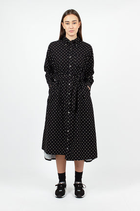 BD Shirt Dress Black Sheeting Print Polka Dot