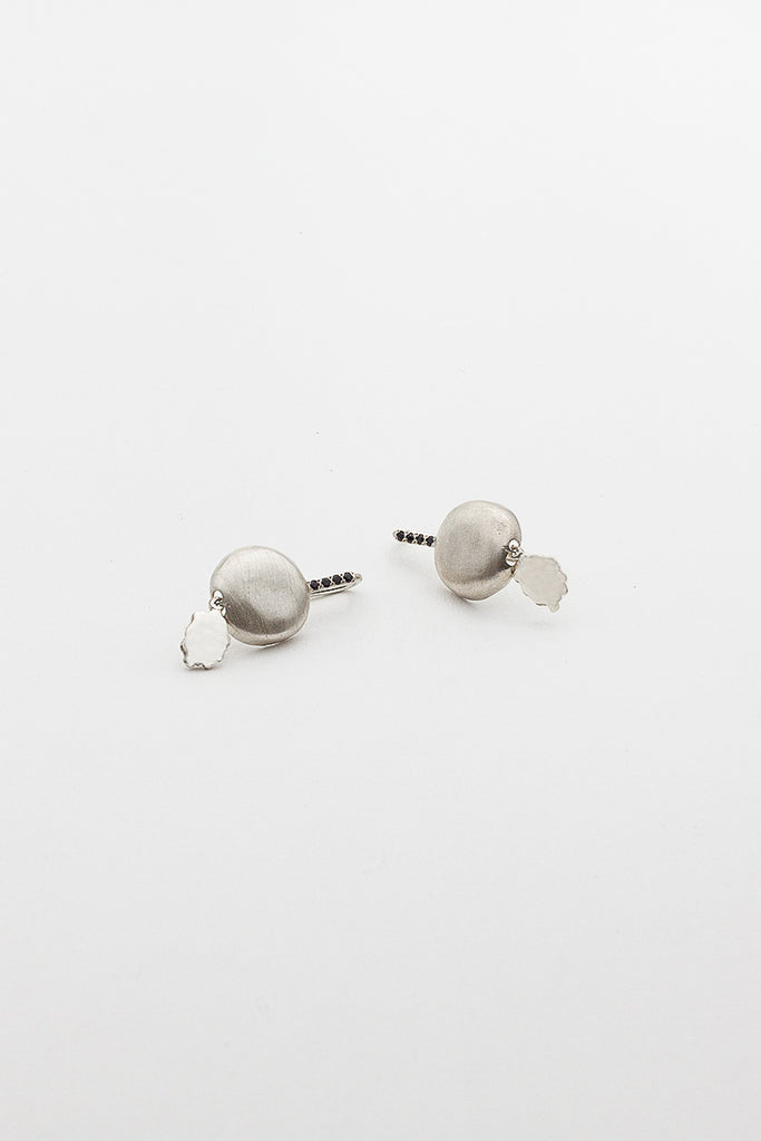 Cherry Silver Earring With Black Diamonds